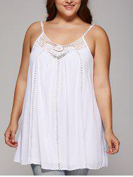 Plus Size Spaghetti Strap Crochet Hollow Out White Tank Top -