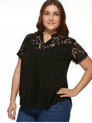 Stylish Plus Size Lace Spliced Blouse - BLACK