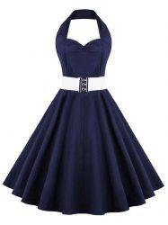 Retro Halter Sweetheart Neck Ball Party Skater Dress - PURPLISH BLUE