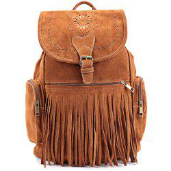 Retro Engraving and Fringe Design Women's Satchel - BROWN