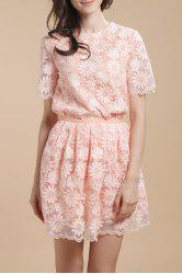 Flower Embroidered See-Through Blouse -