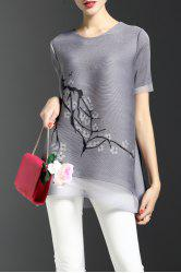 Print See Thru Tunic Top
