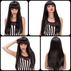 Stunning Long Straight Full Bang Black Mixed Gray Synthetic Party Wig For Women -