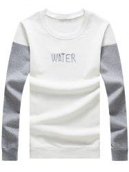 Plus Size Letter Embroidered Color Block Spliced Round Neck Long Sleeve Sweatshirt For Men -