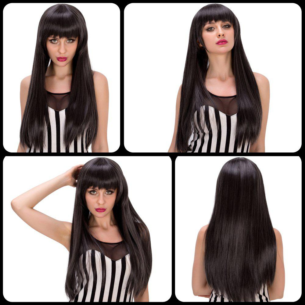 Latest Stunning Long Straight Full Bang Black Mixed Gray Synthetic Party Wig For Women
