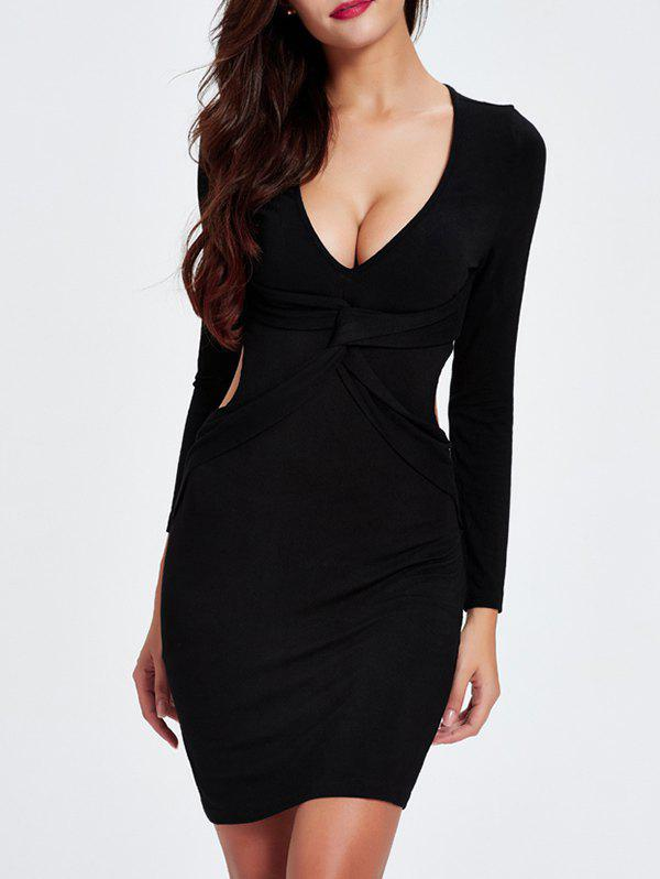 Shops Charming Plunging Neck Cut Out Skinny Slimming Women's Dress