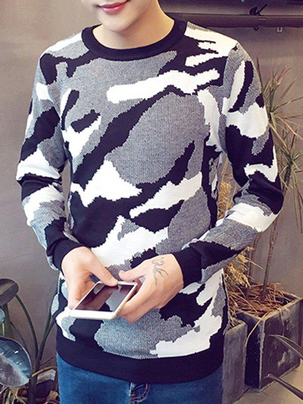 Cheap Camo Pattern Round Neck Long Sleeve Sweater For Men