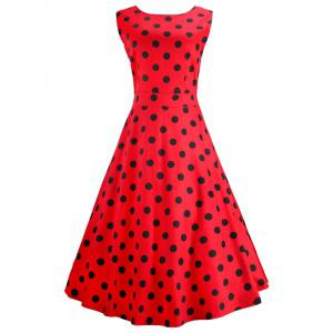 Vintage Sleeveless Polka Dot Midi Dress
