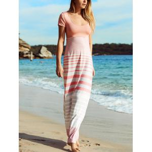 Crisscross Short Sleeve Striped Maxi Dress - Stripe - L