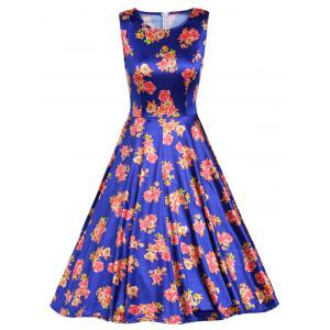 Retro Sleeveless Floral Prom Dress