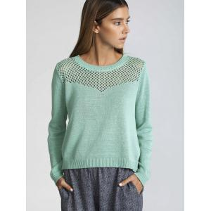 Long Sleeve Hollow Out Pure Color Sweater - Green - M