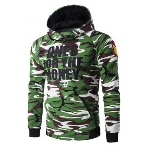 Letter Print Camo Raglan Sleeve Pullover Hoodie For Men