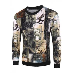 Plant 3D Print Round Neck Long Sleeve Pullover Sweatshirt For Men