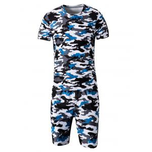 Camo Round Neck Short Sleeve T-Shirt and Elastic Waist Shorts Twinset For Men - Blue - M