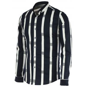 Turn-Down Collar Vertical Stripe Spliced Pattern Long Sleeve Button-Down Shirt For Men
