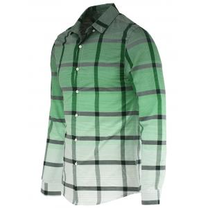 Fashion Gradient Color Stand Collar Long Sleeve Checked Shirt For Men