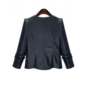 Chic Zipped Leather Patchwork Jacket For Women - BLACK 5XL