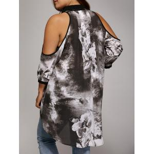 Plus Size Cold Shoulder Ink Painting Blouse - GRAY 3XL