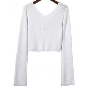 V Neck Long Sleeve Cropped Sweater -