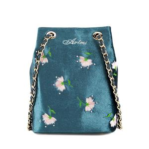 Floral Velour Crossbody Bag - Blue