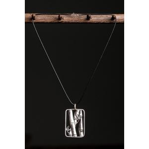 Chic Bamboo Rectangle Pendant Sweater Chain - Black - 5xl