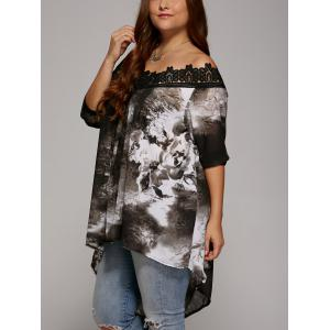 Plus Size Lace Trim High Low Hem Blouse - GRAY 5XL