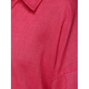 3/4 Sleeve Fural Pure Color Shirt -