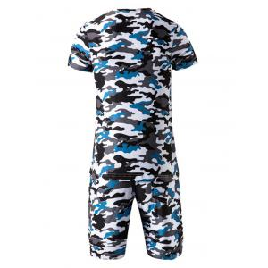 Camo Round Neck Short Sleeve T-Shirt and Elastic Waist Shorts Twinset For Men - BLUE M