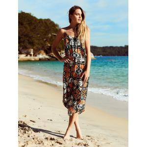 Bohemian Spaghetti Strap Ornate Printed Women's Dress -