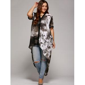 Plus Size Single Breasted Asymmetrical Blouse -