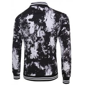 Varsity Stripe Trim Zippered Ink 3D Print Jacket For Men -