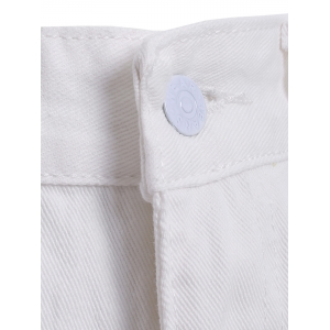 Simple Women's Broken Hole White Denim Pants -