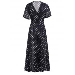 Retro Style V-Neck Polka Dot Pleated Dress For Women -