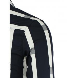 Turn-Down Collar Vertical Stripe Spliced Pattern Long Sleeve Button-Down Shirt For Men - DEEP BLUE 2XL