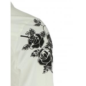 Turn-Down Collar Roses Print Long Sleeve Shirt For Men -