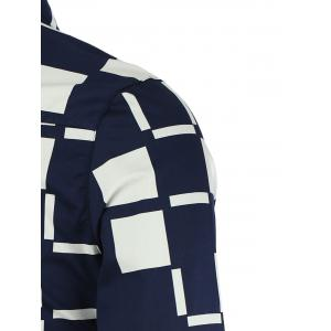 Turn-Down Collar Color Block Checked Pattern Long Sleeve Button-Down Shirt For Men -