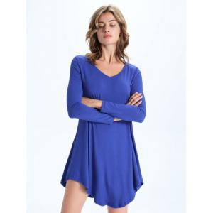 Casual Pure Color Asymmetric Dress For Women -