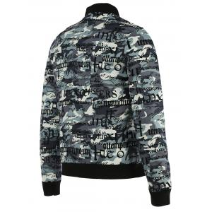 Camo Letters Print Zip-Up Jacket - COLORMIX XL
