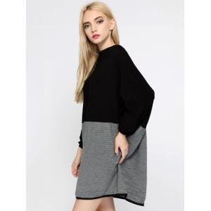 Color Block Batwing Sleeve Oversized Sweater Dress -