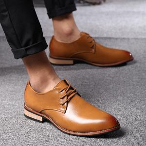 Stylish Pointed Toe and Tie Up Design Formal Shoes For Men - LIGHT BROWN 43