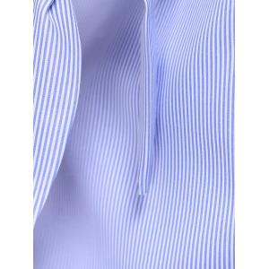 Fashionable Half Sleeve Pinstriped Women's Blouse -