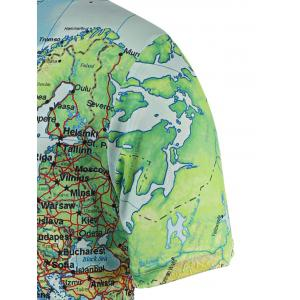 Chic Maps Print Round Neck Short Sleeve Tee For Men -