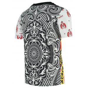 Chic Poker King Print Round Neck Short Sleeve Tee For Men - COLORMIX 2XL