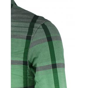 Fashion Gradient Color Stand Collar Long Sleeve Checked Shirt For Men - GREEN XL