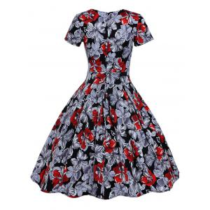 Retro Hole Floral Print High Waisted Flare Dress -