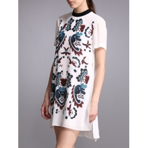 Print Short Sleeve Dress -
