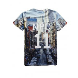 Streetscape 3D Print Round Neck Short Sleeve T-Shirt For Men - BLUE 2XL