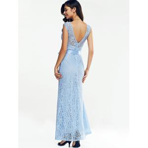 Open Back Maxi Lace Prom Dress -