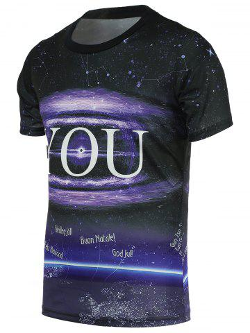 Affordable Universe Print Round Neck Short Sleeve Tee For Men BLACK L