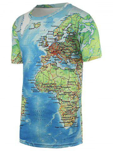 Latest Chic Maps Print Round Neck Short Sleeve Tee For Men